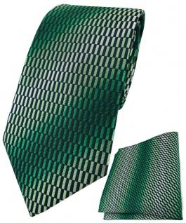 TigerTie Designer Krawatte + Einstecktuch in grün schwarz silber gemustert