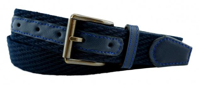 TigerTie - Stretchgürtel in dunkelblau marine einfarbig - Bundweite 90 cm