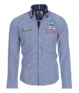 Pontto Designer Hemd Shirt blau dunkelblau weiß kariert langarm Modern-Fit Gr.S