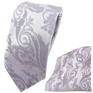 schmale Hochzeit Seidenkrawatte + Einstecktuch in silber Paisley Uni