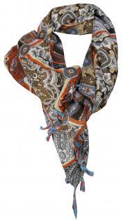 Halstuch rotbraun in braun schwarz grau türkis gemustert mit Bommel und Tusseln