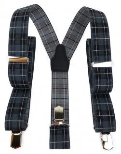 TigerTie Unisex Hosenträger mit 3 extra starken Clips - grau schwarz kariert