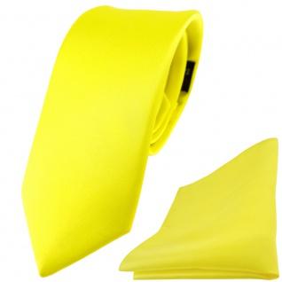 schmale TigerTie Satin Seidenkrawatte + Seideneinstecktuch gelb zitronengelb Uni