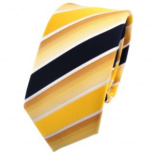 Schmale TigerTie Krawatte gelb knallgelb dunkelblau weiß gestreift - Binder Tie