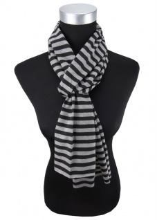 Damen Schal schwarz grau gestreift Gr. 172 cm x 27 cm - Halstuch Tuch