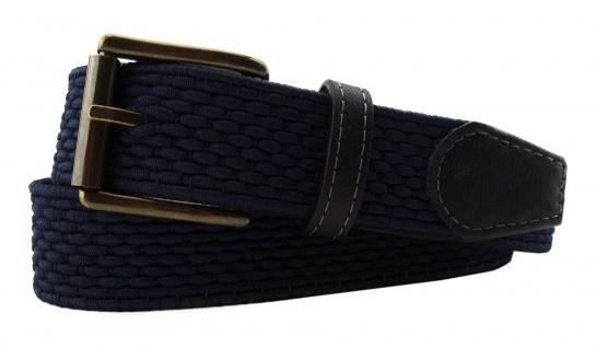 TigerTie - Stretchgürtel blau dunkelblau marine einfarbig - Bundweite 90 cm