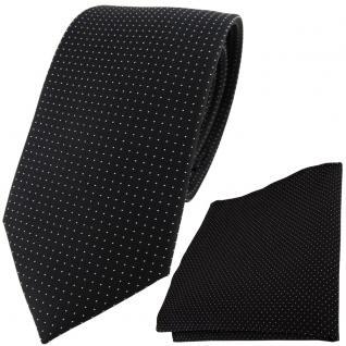 Seidenkrawatte + Einstecktuch in schwarz silber gepunktet - Krawatte 100% Seide