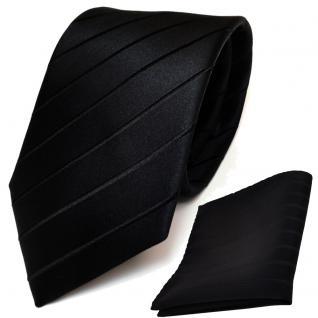 schöne Designer Seidenkrawatte + Einstecktuch in schwarz gestreift - Krawatte - Vorschau 2