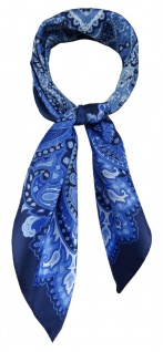 TigerTie Damen Nickituch Halstuch in blau royal marine silber türkis gemustert