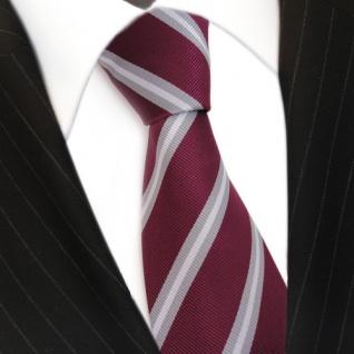 TigerTie Krawatte rot violett bordeaux grau silber gestreift - Schlips Binder - Vorschau 3