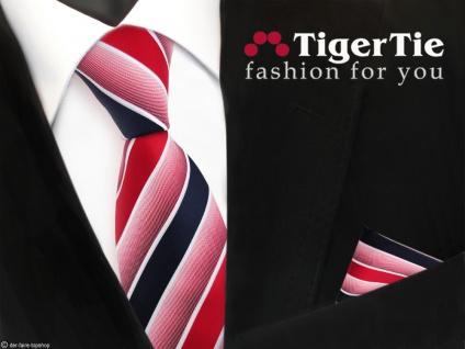 TigerTie Krawatte + Einstecktuch in rot knallrot dunkelblau weiß gestreift