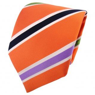 TigerTie Krawatte orange grün flieder dunkelblau creme gestreift - Binder Tie