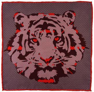TigerTie Seideneinstecktuch in rot bordeaux weinrot silber - Motiv Tigerkopf