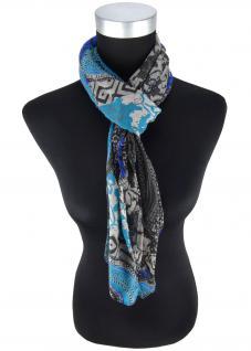 Halstuch in blau royal petrol anthrazit grau schwarz gemustert - Gr 100 x 100 cm