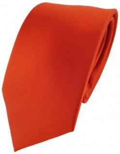 TigerTie Satin Seidenkrawatte orange dunkelorange Uni - Krawatte 100% Seide