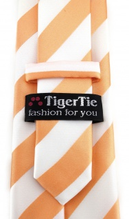 TigerTie Designer Krawatte in apricot weiss gestreift - Vorschau 3