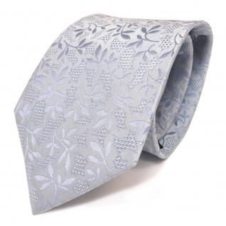 Mexx Seidenkrawatte blau hellblau gemustert Pflanzenmotiv - Krawatte 100 % Seide