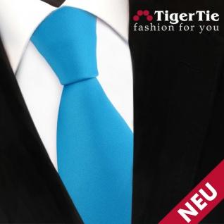 TigerTie Satin Krawatte blau türkis wasserblau Uni - Schlips Binder Tie