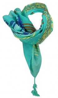 Halstuch in grün mint blau grau gelb rotbraun gemustert mit Tusseln an den Ecken