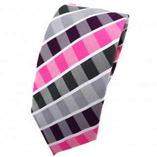 Schmale TigerTie Krawatte lila violett pink grau anthrazit weiß gestreift - Tie