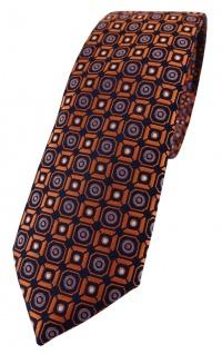 schmale TigerTie Designer Krawatte in orange blau silber schwarz gemustert