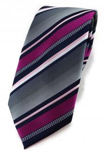 TigerTie Designer Krawatte in magenta silber grau weiss schwarz gestreift