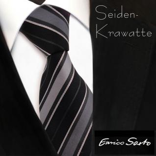Enrico Sarto hochwertige Seidenkrawatte anthrazit schwarz grau silber gestreift