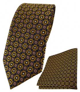 TigerTie Krawatte + Einstecktuch in gold rosa silber schwarz gemustert
