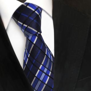 Designer Seidenkrawatte blau marine silber gestreift - Krawatte Seide Tie - Vorschau 3