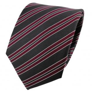 Satin Seidenkrawatte rot dunkelrot anthrazit silber gestreift - Krawatte Seide