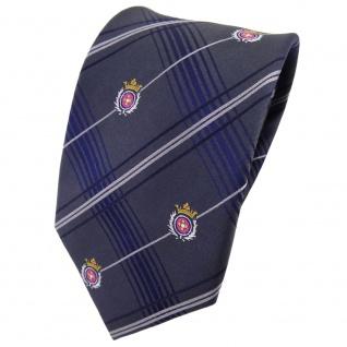 TigerTie Seidenkrawatte anthrazit silber blau kariert Wappen rosa gold- Krawatte
