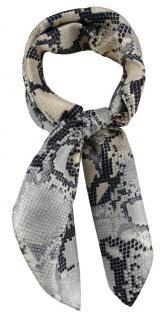 TigerTie Damen Nickituch Halstuch in grau silber schwarz beige Schlangenmuster