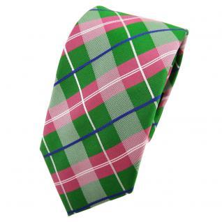 Schmale TigerTie Seidenkrawatte grün rosé blau silber kariert - Krawatte Seide