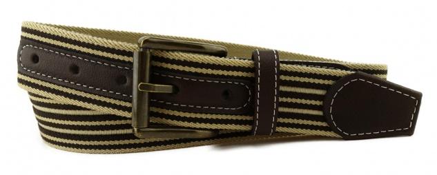 TigerTie - Stretchgürtel braun dunkelbraun beige gestreift - Bundweite 110 cm