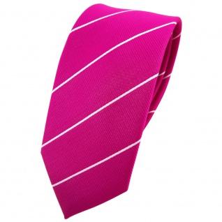 Schmale TigerTie Krawatte magenta fuchsia silber gestreift - Binder Tie