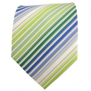 XXL Designer Krawatte grün hellgrün blau weiß creme gestreift + Krawattennadel - Vorschau 3