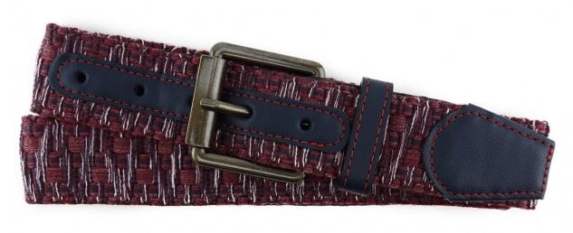 TigerTie - Stoffgürtel in rot bordeaux weiss gemustert - Bundweite 90 cm