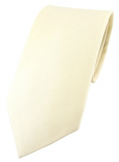 TigerTie Designer Krawatte elfenbein Uni - 100% Baumwolle - Krawattenbreite 8 cm