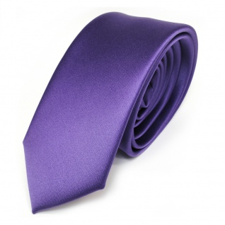 schmale TigerTie Satin Krawatte in lila violett uni einfarbig - Schlips Tie