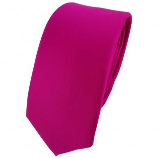 schmale TigerTie Designer Krawatte in magenta einfarbig Uni