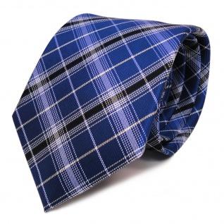 TigerTie Seidenkrawatte blau kobaltblau silber schwarz gestreift- Krawatte Seide