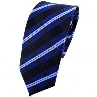 Schmale TigerTie Krawatte blau kobalt hellblau schwarz gestreift - Binder Tie
