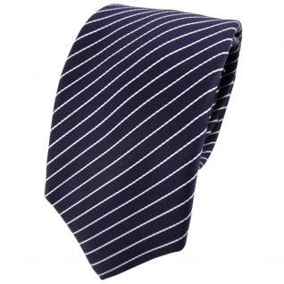 Enrico Sarto Seidenkrawatte blau dunkelblau weiß gestreift - Krawatte Seide Tie