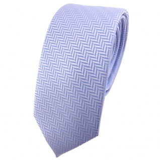 Schmale TigerTie Krawatte hellblau blau silber gestreift - Binder Tie Schlips