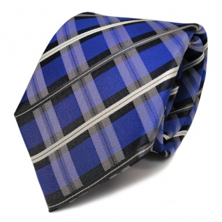 Designer Seidenkrawatte blau signalblau anthrazit creme kariert - Krawatte Seide