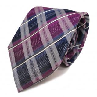 TigerTie Seidenkrawatte violett blau dunkelblau weiss gestreift - Krawatte Seide