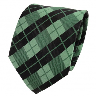 TigerTie Designer Seidenkrawatte grün smaragdgrün schwarz kariert - Krawatte