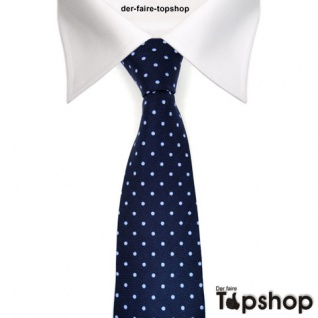 feine leichte Seidenkrawatte dunkelblau in blau gepunktet - Krawatte 100% Seide