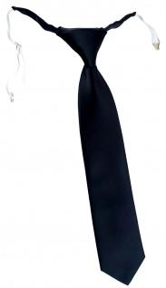 TigerTie Kinderkrawatte in schwarz einfarbig Uni - vorgebunden mit Gummizug
