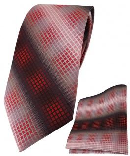 TigerTie Krawatte + Einstecktuch in rot dunkelrot silber grau schwarz kariert